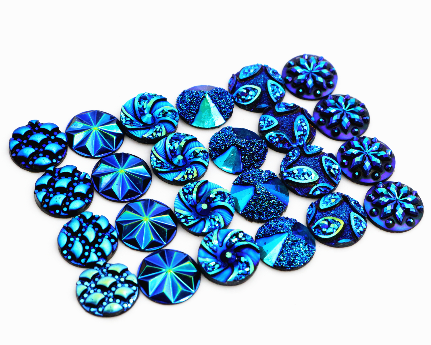 New Fashion 40pcs 12mm Mix Blue AB Colors Flower Fashion Style Flat back Resin Cabochons Cameo fashion style