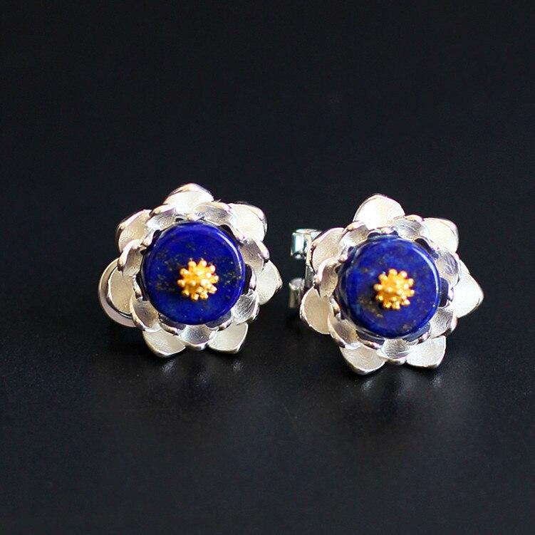 S925 pur argent ornements fleur de lotus vert or pierre boucle d'oreille