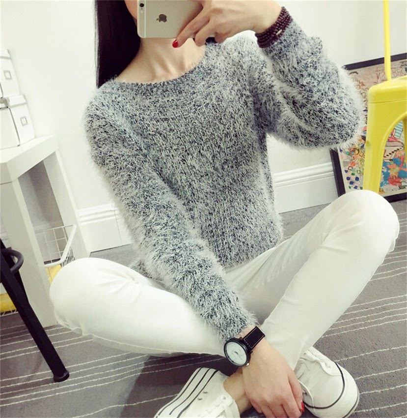 Fuzzy Pullover Mohair Blend Crewneck Sweater Women's Fall Winter ...