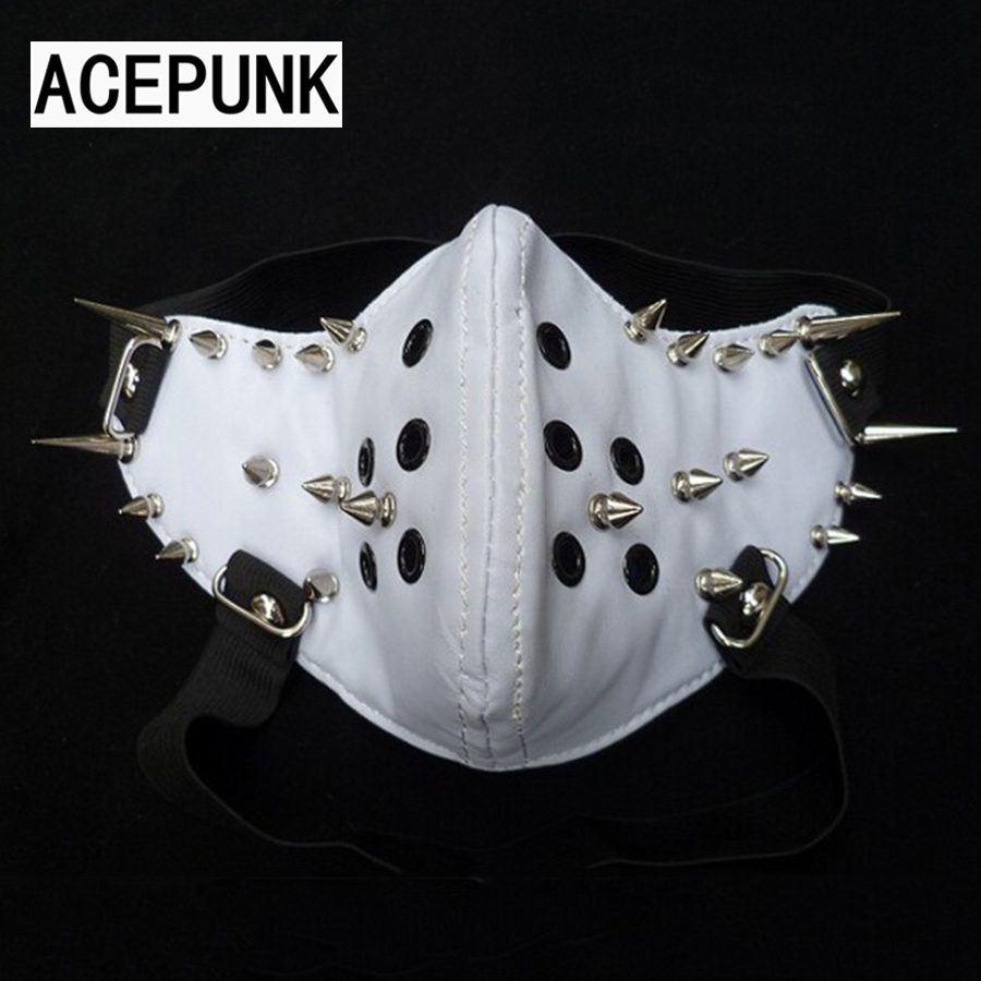 Fashion Spike White Læder Party Punk Maske Med Elastisk Band Cool Man Lang Rivet Mask Anime Cosplay Halloween Halv Face Masker