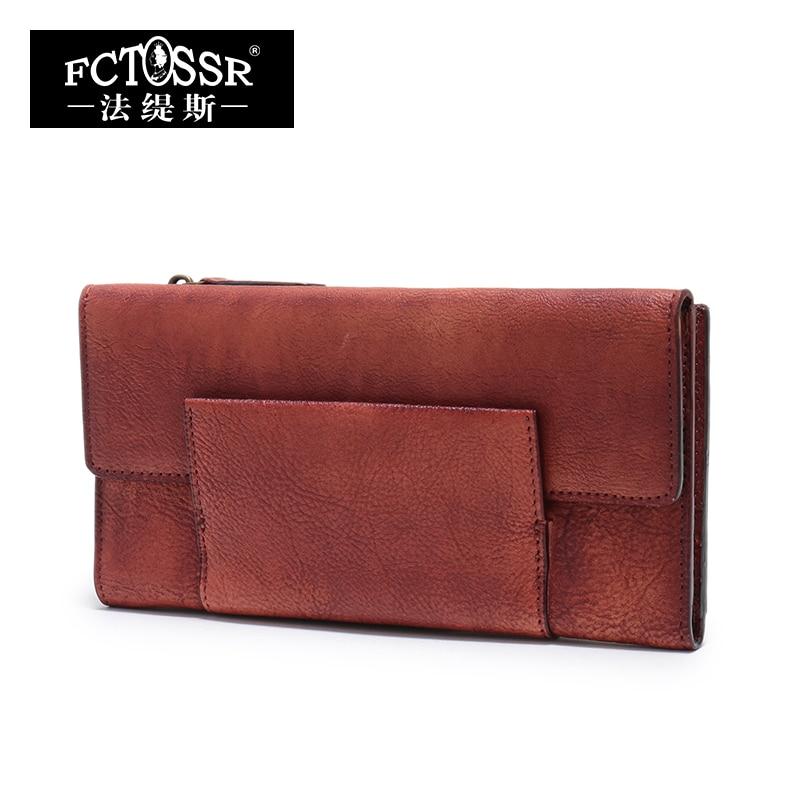 Original Design Genuine Leather Women Wallets Vintage Ladies Clutch Purse Handmade cowhide Card Holder Fold Wallet Women Purse