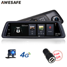 AWESAFE 4G Special Bracket Car DVR Mirror 10″Full Touch Android GPS FHD 1080P Dual Lens GPS Vehicle Rearview  Dash Cam Free Gift