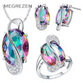 Mystic Topaz Ring Necklace Blue Bijoux Mariage Bridal Sapphire Jewelry Sets Kristallen Sieraden Conjunto Feminino D001-5