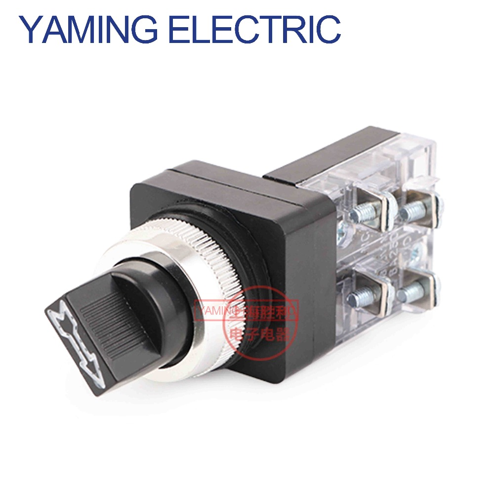 2Pcs XB2-BD21C NO Maintained Select Selector Switch 380V//6A 2Position