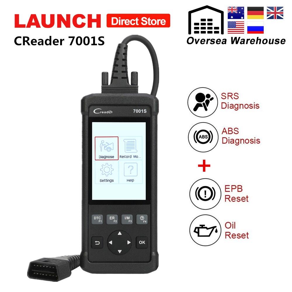 Scanner de lançamento CReader 7001 S OBD2 ABS SRS 2 CR7001S Completo OBD Leitor de Código de Carro Ferramenta de Diagnóstico Auto com EPB /Oil Repor pk CR8001