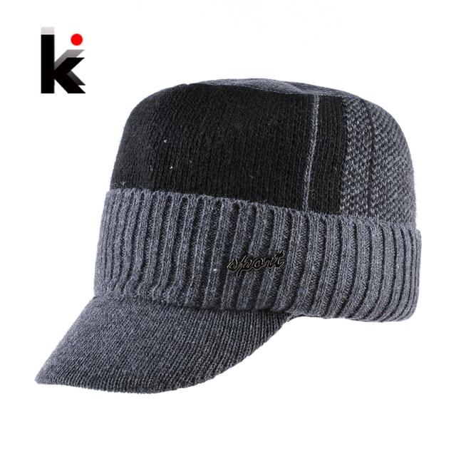 c39b877d6a2 Unisex Knitted Baseball Cap Women Winter Knit Skullies Hat For Men Add  Velvet Thick Outdoor Sports
