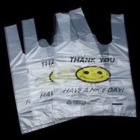 0 03mm Plastic Smile Face Printed Shopping Bag W Handles For Supermarket Grocery Carrier THANK YOU
