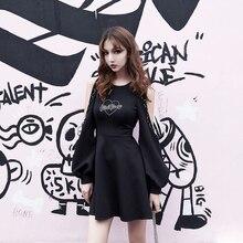 Новинка, весна-осень, женское мини-платье в готическом стиле, в стиле панк, высокое качество, с длинным рукавом, с вырезами, сексуальное черное платье, модные платья для женщин