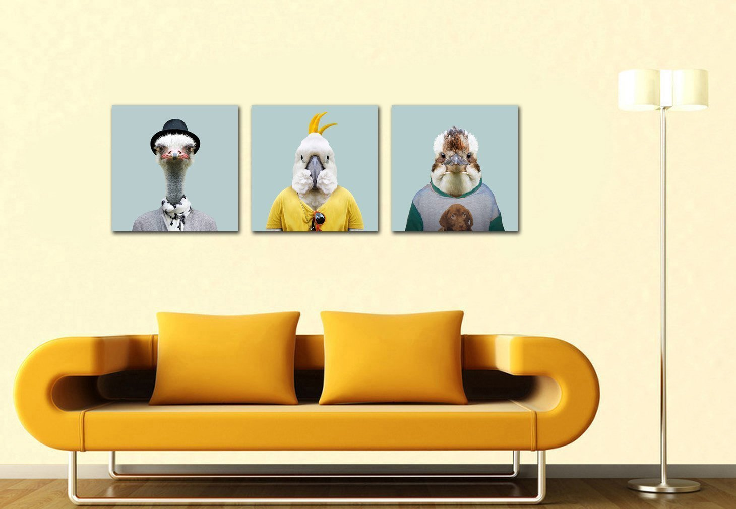 Animal Birds Painting Ostrich Parrot and Eagle 3Piece Painting ...