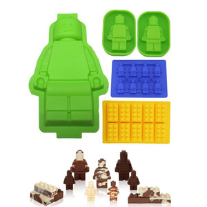 Engraçado 5 pcs Diferentes Lego Em Forma Molde Do Bolo Do Silicone Doces Robô Tijolos para Construção de Bloco de Chocolate Bandeja de Cubos de Gelo Do Bolo de Geléia molde