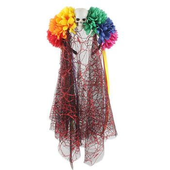 Women Halloween Costume Punk Rainbow Artificial Flowers Long Lace Veil Skull Decor Hair Hoop Gothic Ribbons Festival Headband Bridal Veils