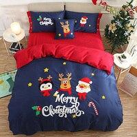 Merry Chiristmas подарок Олень Дерево красные, синие полный Queen King 4 шт. мультфильм постельного белья 100% хлопок роскошь пододеяльник кровать лист Ко