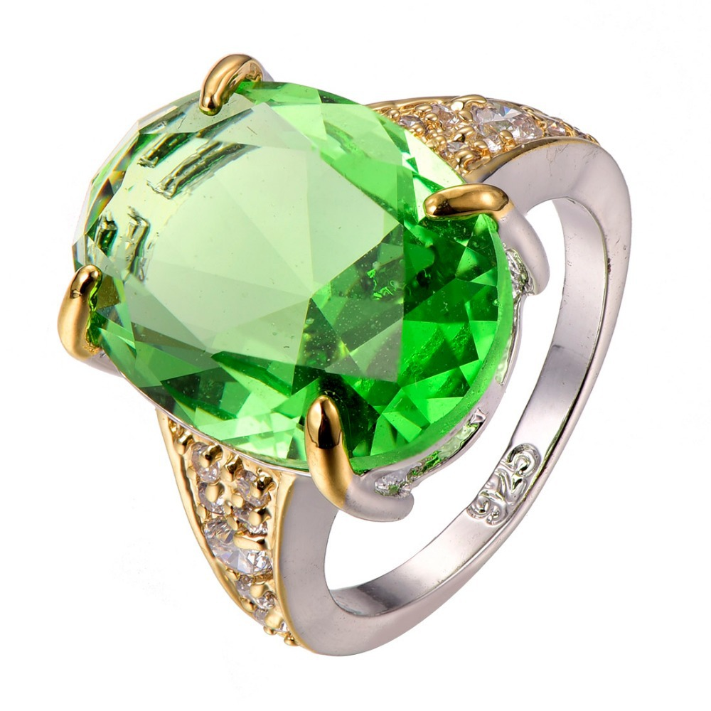Peridot White Crystal Zircon 925 sterling silver Ring Size 6 7 8 9 10 F1304 equte rssw30c1s7 fashionable titanium steel two zircon women s ring silver white us size 7