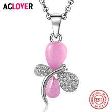 Женское ожерелье с подвеской в виде стрекозы серебро 100% пробы