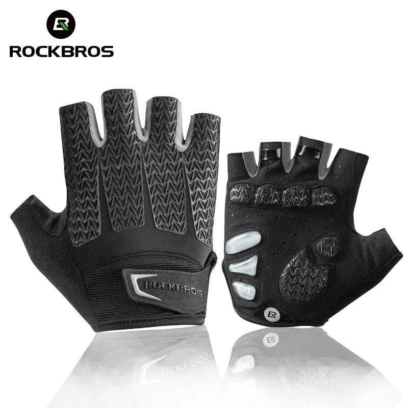 ROCKBROS Men's Cycling Gloves Mountain Bike Breathable Gloves Anti Slip Shock Absorbing Half Finger Road Racing Riding Gloves
