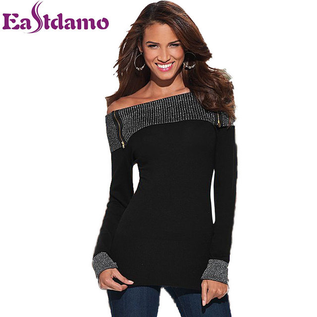 2b111a208e36b0 Fashion Long Sleeve Slash Neck T Shirt Women 2017 Spring New Black Sexy Off  Shoulder Tops Silver line Patchwork Plus Size Tops