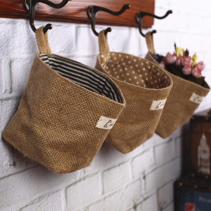 double face respectueux de l 39 environnement jute tissus tenture sacs de rangement de bureau. Black Bedroom Furniture Sets. Home Design Ideas