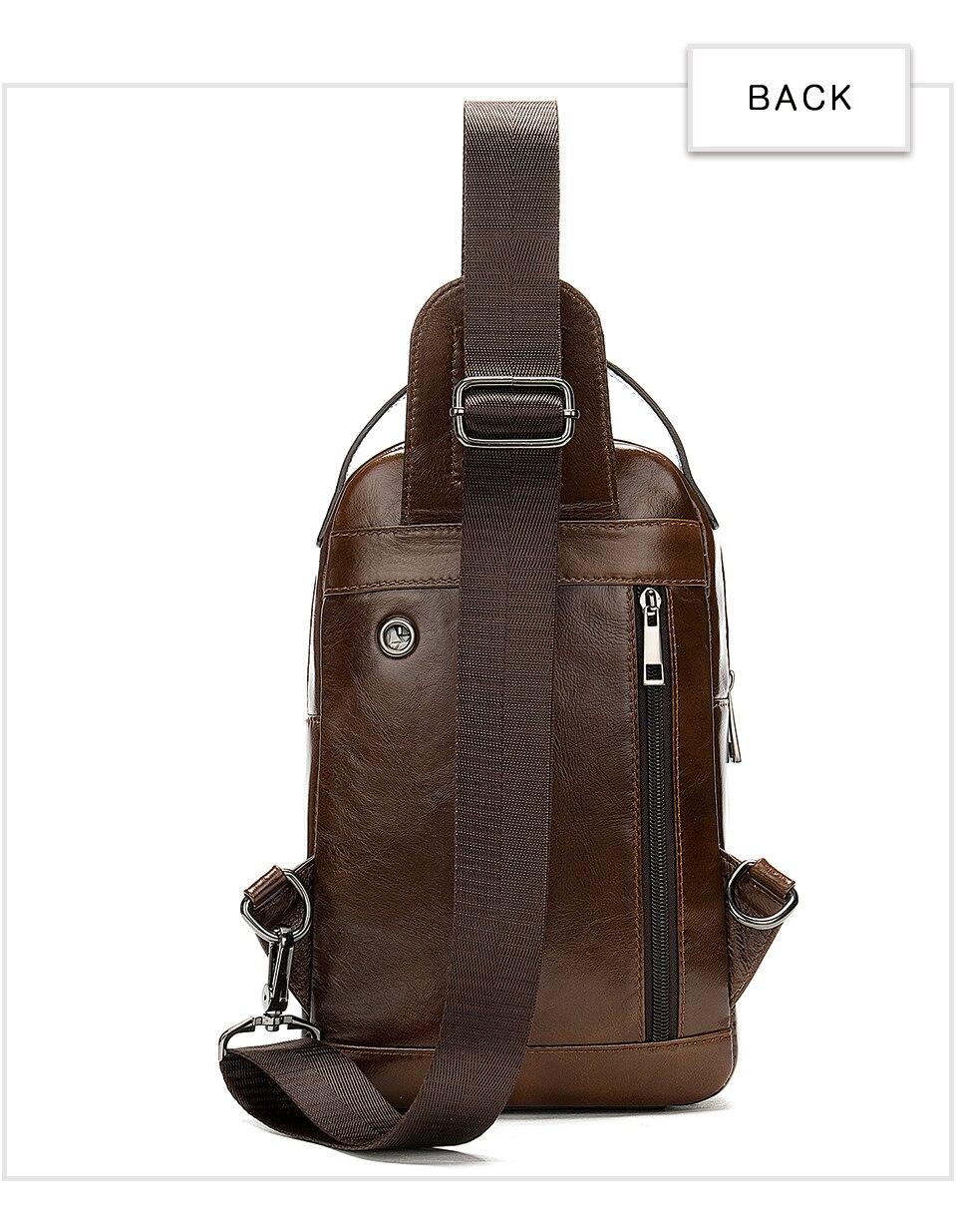 14 Men's Bag Leather Sling Bag Caual Men's Shoulder Bag Vintage Crossbody Bags for Men with Headphone Hole Travel Chest Pack