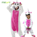 Nova Flanela Flanela Pijamas para criança Unisex Inverno panda Dos Desenhos Animados Porco Ponto mulheres pijamas Onesie unicórnio Animais Meninas sleepwear