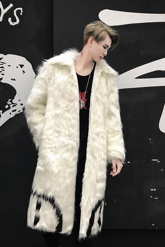 down Nouveaux Long Col white Vestes Casual Black Outwear D'hiver Fausse De 2018 En Parka Manteau Faux Veste Turn Fourrure Hommes aqXTnvw