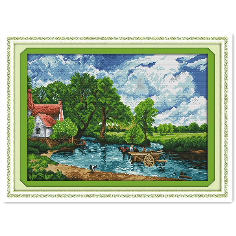 Wading In A River DIY Set Needlework Rest Room Cross Stitch Chinese Counted Cross Stitch Patterns Kits DMC Cross Stitch Fabric