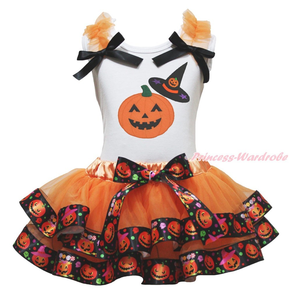 Halloween White Top Witch Hat Pumpkin Satin Trim Skirt Girl Outfit Set NB-8Year MAPSA0871 pumpkin print white pettitop coral petal skirt nb 8year baby girl mamh241