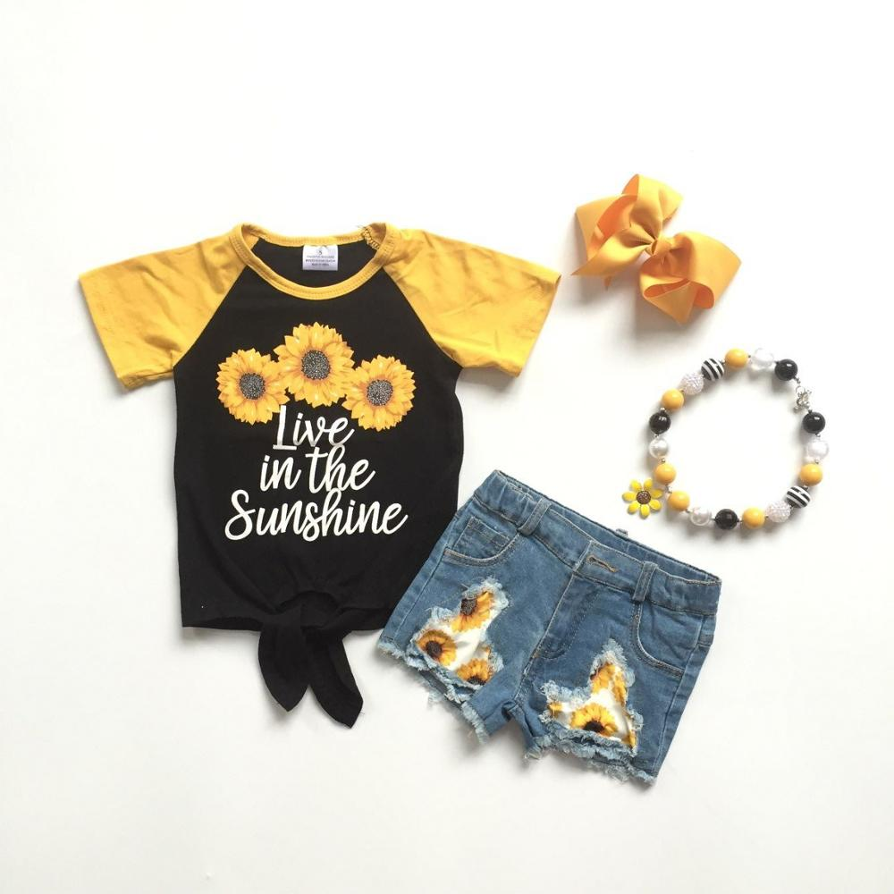 Baby Girls Summer Outfits  Jeans Shorts Sunflower Outfits Girls Boutique Denim Outfits With Bow And Necklace.
