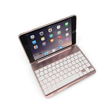 Aluminum 7 Colors Backlit Bluetooth Keyboard Smart Folio Case For iPad mini 4 20A Drop Shipping