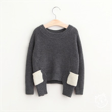 New 2016 Baby Girls Knit Sweaters Kids Girl Wool Blends Knitted Pullover Babies Autumn Winter Fashion Jumper tops kids clothing