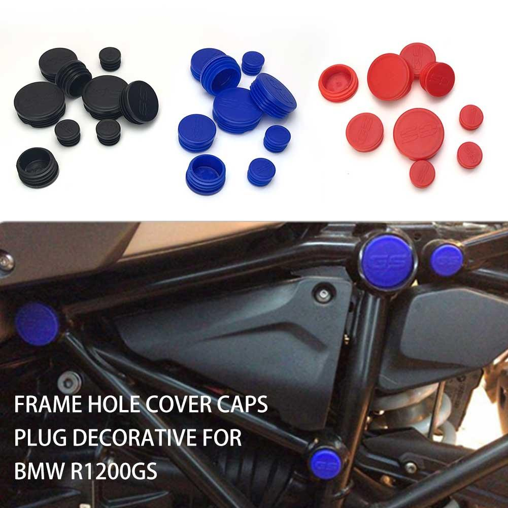 9PCS Motorcycle Frame Hole Cover Caps Plug Decorative for <font><b>BMW</b></font> R1200GS R <font><b>1200</b></font> <font><b>GS</b></font> R1200 <font><b>GS</b></font> <font><b>LC</b></font> <font><b>Adventure</b></font> Frame Cap Set image