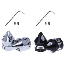 1 Pair Chrome Front Axle Nut Cover Cap for Harley Softail Dyna V-Rod Trike Silver / Black Motorcycle Styling