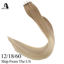 лучшая цена Tape Hair Extensions 50 Gram Glue On Ombre Color 12-18-60 blonde color Full Shine Ramy Human Hair Extensions 2019 new color