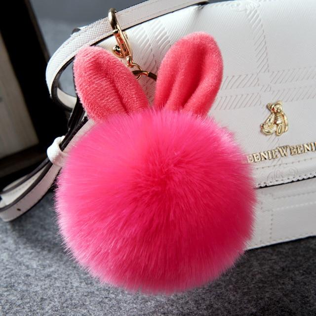2017 New Rabbit Key Chains Fur Car Keys rings Chains Lovely Rabbits Ears Key  Chain Women e20b93e4ac