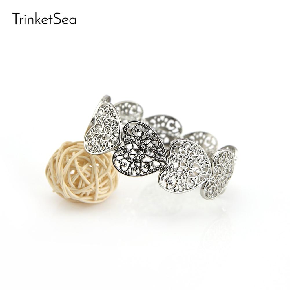 TrinketSea Trendy Hollow Heart Elastic Cuff Bracelet Silver For Women Zinc Alloy Charms Wrist Accessories Fashion Jewelry Gift все цены