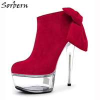 Sorbern Ankle Boots Women Bow Ladies Party Boots Red Flock Ladies Party Boots Cheap Modest Spike Heels Transparent Heels B