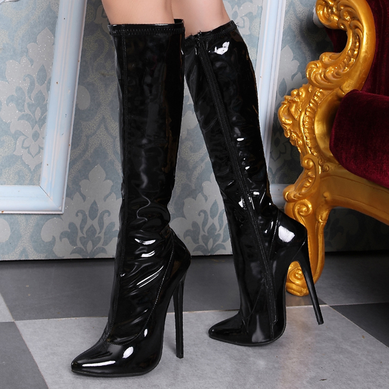 Knee High Boots Women Shoes High Heels 12cm Glossy Leather Fashion Fenty Beauty Zip Gothic Pointed