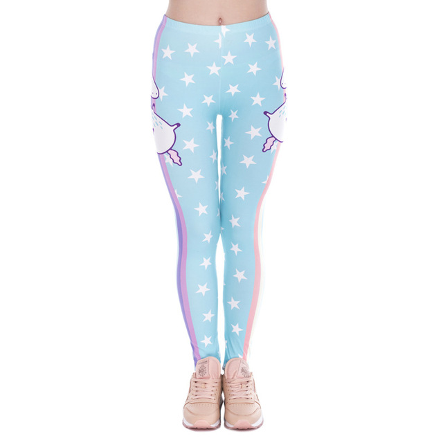 Fashion Design Women Leggings Unicorn Stars Printing Cozy Workout Legging Woman High Waist Casual Leggins Sweatpants Jeggings