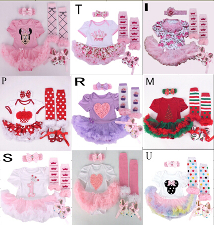 Cute 1SET Mini  Dresses, Baby Clothes Sets girl clothing Tutu Romper  Set =+Shoes+Legwarmers+Headband+Rompers