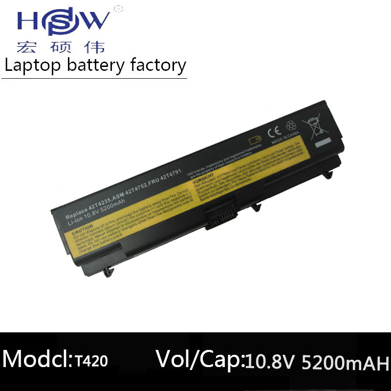 HSW 5200mah LAPTOP battery 10.8V FOR Lenovo ThinkPad E40 L512 T410 E50 E420 L520 E425 SL410 T420 E520 T510 E525 bateria