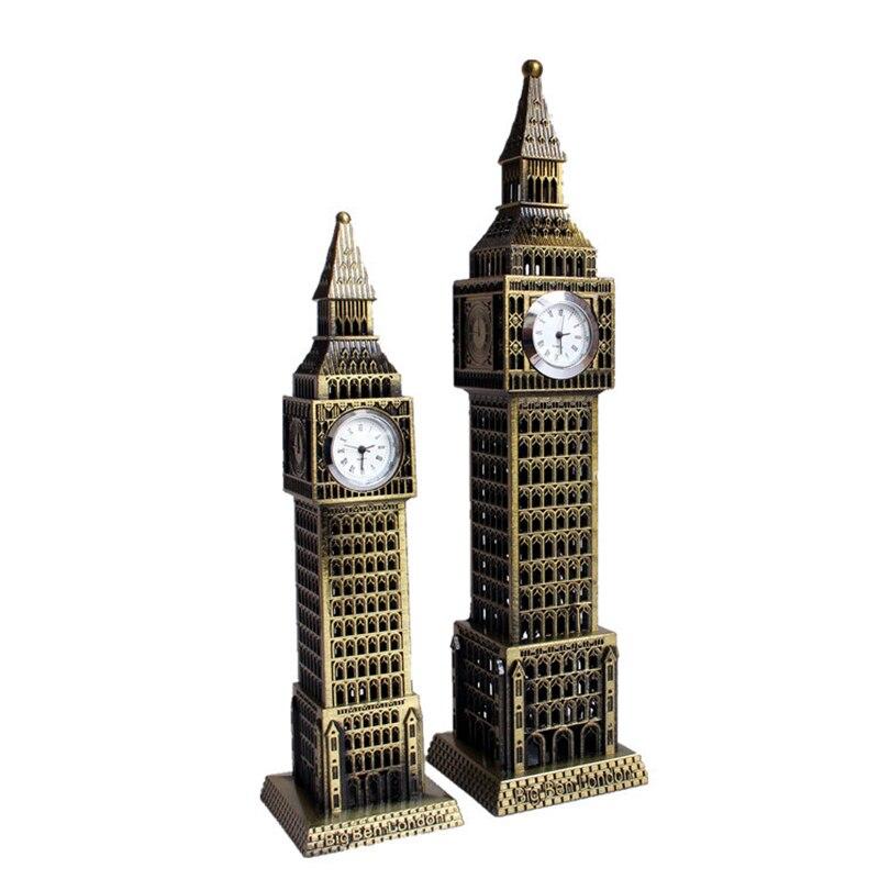 Vintage Table Clock European London Big Ben Model Creative Metal Antique Style Clocks Souvenirs Crafts Desktop Home Decoration