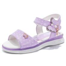 CSXD Girls Sandals Leather Pink Open Toe Princess Shoes Kids Summer Beach Sandals Butterfly Flat Sandals
