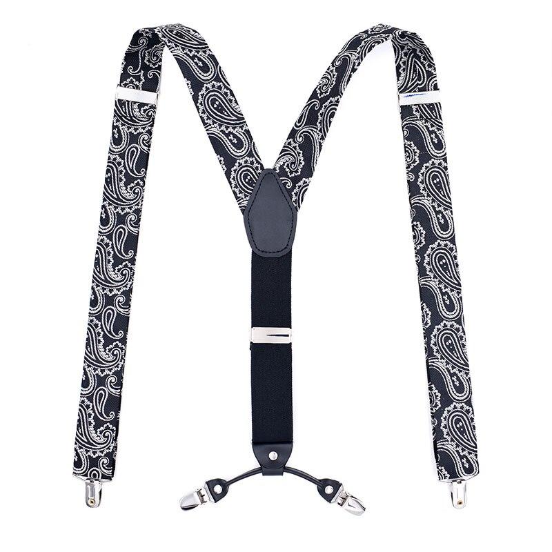 Fashion Men's Suspenders Casual Braces Leather Suspenders Adjustable 4 Clip Belt Strap Bretelle Suspensorio Hommes Bretels Brace