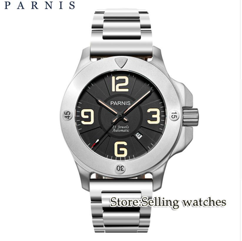 Fashion Stlye Men s Watch Automatic Watch Parnis 47mm Sapphire Luminous Army Military Men Watch Mechanical
