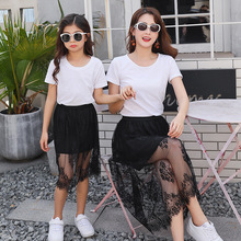 Mommy and me clothes Family t shirt Top+Skirt Mom daughter dress matching Costume