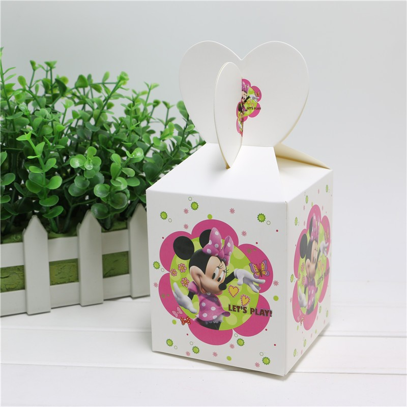 6PCS/lot lovely cartoon minnie mouse candy box decor baby shower party happy birthday party decoration supplies child favor
