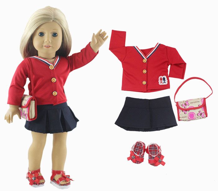 1 Set Doll Clothes for 18 Inch American Girl Doll Handmade Tennis Clothes Outfit 9 colors american girl doll dress 18 inch doll clothes and accessories dresses