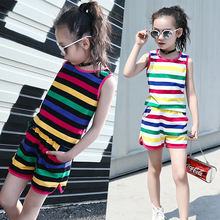 Summer Girls Clothes Set Teenage Kids Clothing Children Sports Suit Striped Sets Casual Tracksuit 6 8 10 12 14 Years