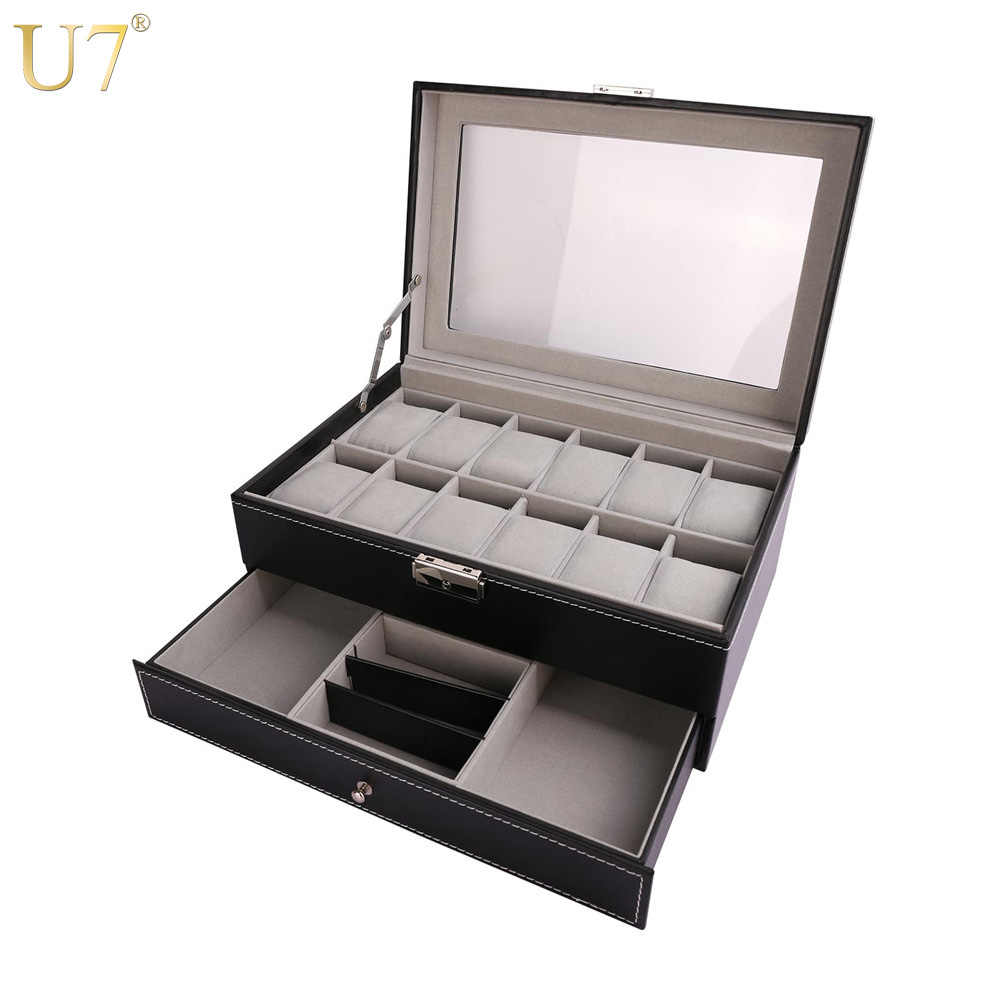 U7 Watches Holder Jewelry Organizer Box Big Storage Case with Lock Key Drawer Black High Quality PU Leather Chic Decoration OB07 u7 watch holder and jewelry organizer box chic storage drawer case black high quality pu leather gift for men women ob08