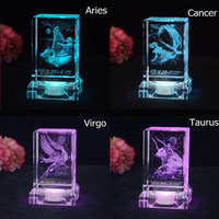 1pcs Taurus Laser Engraved constellation Crystal Ball Miniature 3D Crystal Craft Glass Ornament Home Decoration Accessories Gift