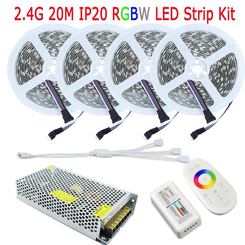20M DC12V RGBW Fita De LED lente RGB balta silta, balta IP20 bez ūdensnecaurlaidīga 15M 10M pilna komplekta 2.4G RF RGBW regulatora tālvadības maiņstrāvas jauda